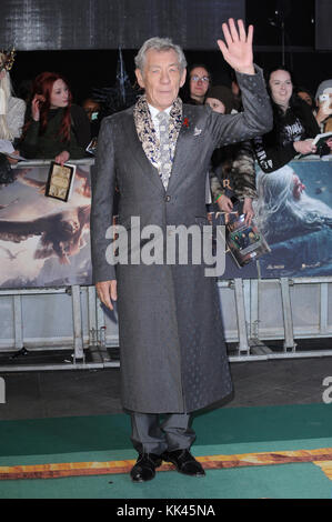 Ian McKellen attends The Hobbit: The Battle Of The Five Armies World Premiere at Odeon Leicester Square and Empire - Stock Photo