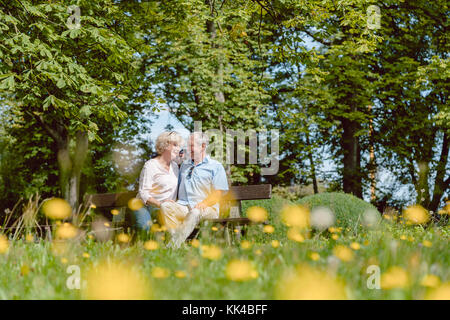 Romantic senior couple in love dating outdoors in an idyllic par - Stock Photo