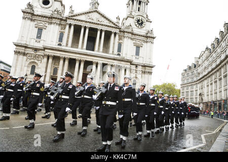 London military parade: The Royal Navy, RN, marching passed St Paul's Cathedral, at the UK London Lord Mayor's show. - Stock Photo