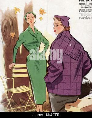 French Magazine page .1950`s. - Stock Photo