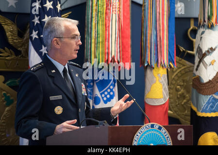 U.S. Air Force Gen. Paul J. Selva, Vice Chairman of the Joint Chiefs of Staff, delivers the keynote remarks during - Stock Photo