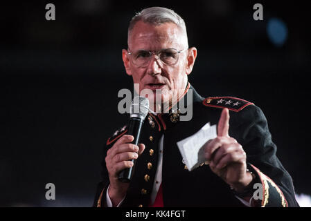 U.S. Marine Corps Lt. Gen. Rex G. McMillian, 10th Commander of Marine Forces Reserve and Marine Forces North, delivers - Stock Photo