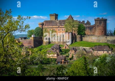 Bretenoux Castelnau medieval castle, lot, quercy,dordogne france - Stock Photo
