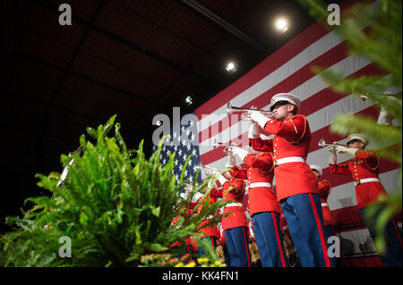 'The Commandant's Own' United States Marine Drum and Bugle Corps plays during the Semper Fidelis Society Boston - Stock Photo