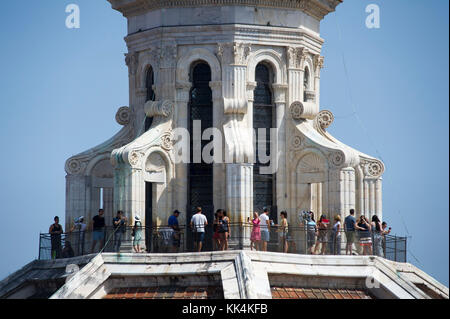 View point on the top of Renaissance Cupola del Brunelleschi (Brunelleschi's Dome) of Italian Gothic Cattedrale - Stock Photo