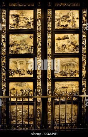 The Florence Baptistery ( Battistero di San Giovanni), Baptistery of Saint John,  East doors, or Gates of Paradise, - Stock Photo