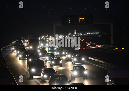 Lyon (south-eastern France): highway / motorway A7. Traffic jam from north to south, exit in the direction of the - Stock Photo