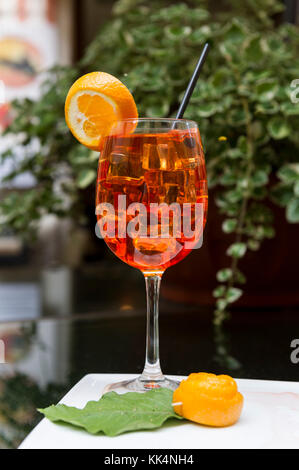 Italy. Liguria. Cinque Terre National Park UNESCO World Heritage Site. Aperol Spritz. A very popular aperitif in - Stock Photo