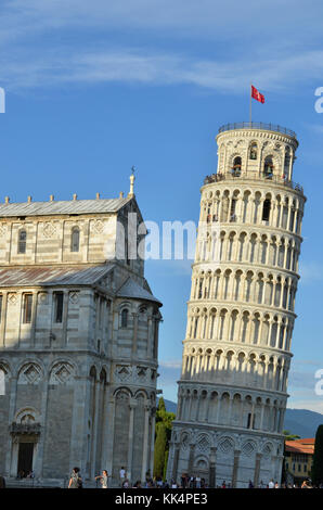 Italy: Pisa. The Leaning Tower of Pisa, campanile of the Cathedral of Santa Maria Assunta (St. Mary of the Assumption), - Stock Photo