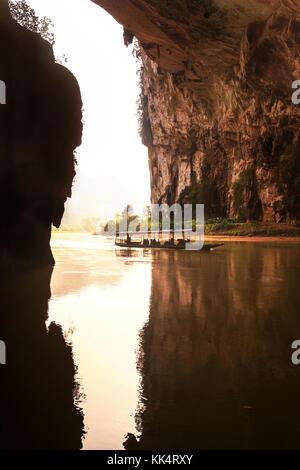river in cave, BaBe lake NP, Vietnam - Stock Photo