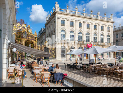 Sidewalk cafe in font of the Opera House, Place Stanislas, Nancy, Lorraine, France - Stock Photo