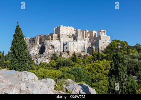 View of the Acropolis from Areopagus Hill with the Propylaea to the fore, Athens, Greece - Stock Photo