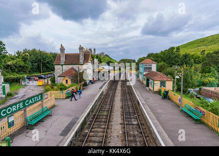 CORFE, UNITED KINGDOM - SEPTEMBER 06: This is Corfe Castle railway station. Corfe is a small medieval village with - Stock Photo