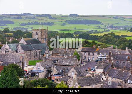 Corfe medieval village traditional British architecture - Stock Photo