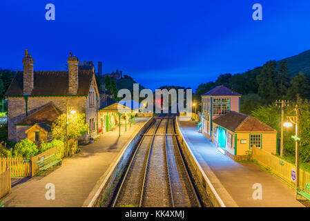 CORFE, UNITED KINGDOM - SEPTEMBER 08: This is a night view of the Corfe Castle railway station traditional medieval - Stock Photo