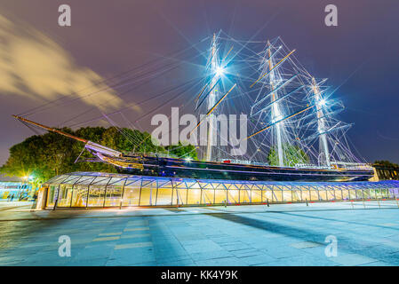 LONDON, UNITED KINGDOM - OCTOBER 07: This is a night view of the Cutty Sark ship a historic ship which is a landmark - Stock Photo