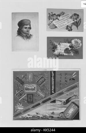 Collection of four advertisement cards, clockwise from left, card with a portrait of a small child wearing a hat - Stock Photo