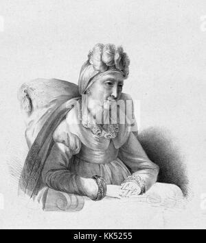 Engraved portrait of Letizia Ramolino, Napoleon Bonaparte's mother, sitting, by Princess Charlotte Bonaparte, daughter - Stock Photo
