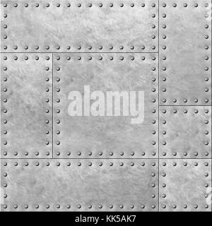Steel Metal Plates With Rivets Seamless Background Stock