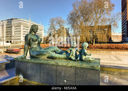 Statue in the harbor of Pipervika in Oslo, Norway, Europe. - Stock Photo