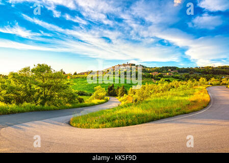 Casale Marittimo village and hairpin bend, road and countryside landscape in Maremma. Pisa Tuscany, Italy Europe. - Stock Photo