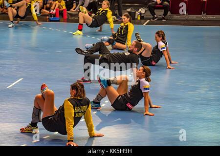 ROSTOV-ON-DON, RUSSIA - CIRCA OCTOBER 2017: Rostov handball team warms up - Stock Photo