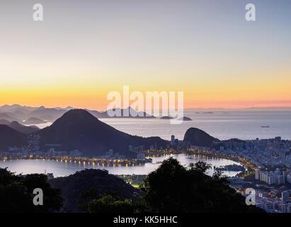 Cityscape from Vista Chinesa at dawn, Rio de Janeiro, Brazil - Stock Photo