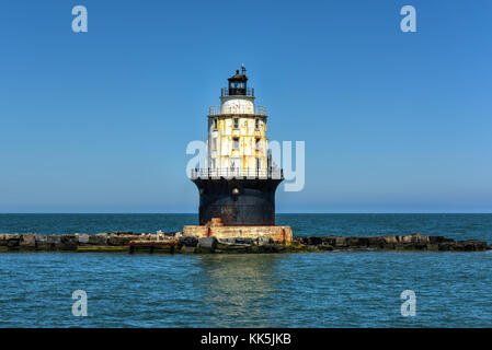 Harbor of Refuge Light Lighthouse in the Delaware Bay at Cape Henlopen. It was originally named Harbor of Refuge - Stock Photo