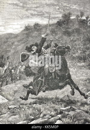 The last Charge of Dundee at the Battle of Killiecrankie, 27 July 1689, Scotland - Stock Photo