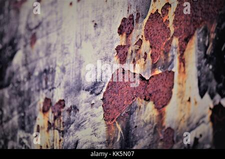 Rusted, corrosion and age coloured metal surface - Stock Photo