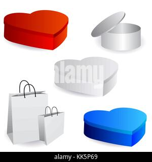 White package design templates.Cylindrical box with an open lid, boxes in the shape of heart in color, paper bags. - Stock Photo
