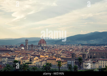 Florence, ITALY - july 11, 2017: view  of city of florence in Italy, on july 11, 2017 in Florence, Italy - Stock Photo