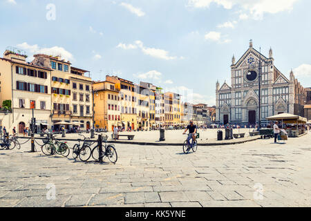 Florence, ITALY - july 11, 2017: view of square  Santa Croce and  Santa Croce church in Florence,Italy  , on july - Stock Photo