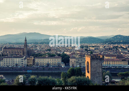 Florence, ITALY - july 11, 2017: sunset view  of florence city and arno river, on july 11, 2017 in Florence, Italy - Stock Photo