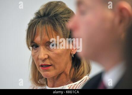 Martina Anderson MEP and Chris Hazzard MP at the launch of Sinn Fein legal advice in central London, which outlines - Stock Photo