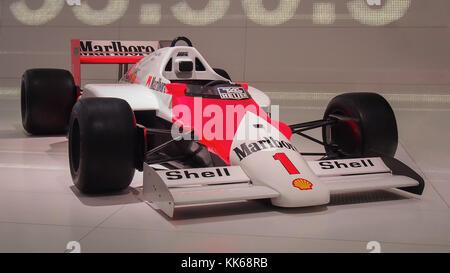 1986 F1 McLaren TAG MP4/2 in the Porsche Museum. - Stock Photo