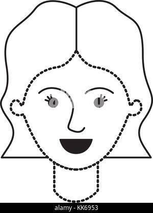 female face with short wavy hair in black dotted silhouette - Stock Photo