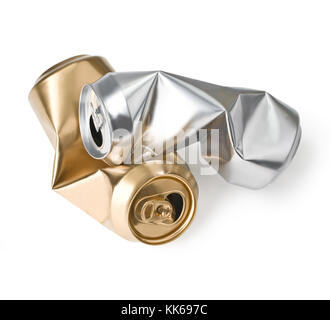 crumpled empty cans isolated on white - Stock Photo