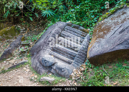 Carved steps possibly used for human sacrifices in the ruins of the pre-Angkorian Khmer Hindu temple of Wat Phou, - Stock Photo