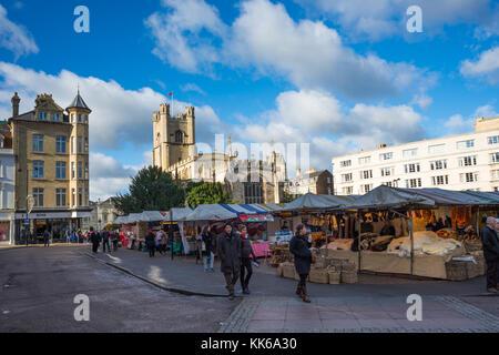Market Square and Great St Marys Church, the University church, Cambridge, Cambridgeshire, England. UK. - Stock Photo