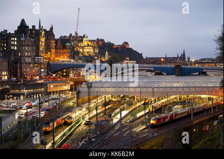 A view of Waverley Station in  Edinburgh city centre. - Stock Photo