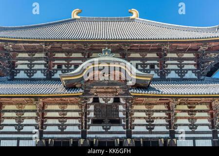 Daibutsuden (Great Buddha Hall) of Todai-ji (Eastern Great Temple) in Nara, Japan. Headquarters of the Kegon school - Stock Photo