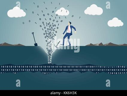 Business man drilling hole to find spring of information. Concept of successful data mining, big data and digitilization - Stock Photo