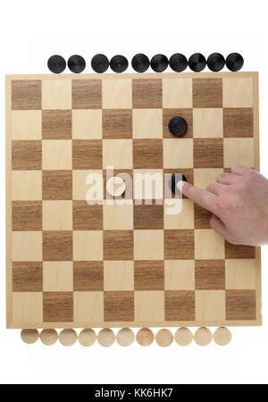 black greater than white on the checkers - Stock Photo