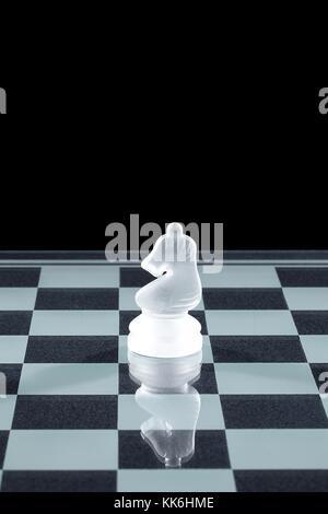 chess knight on chess board - Stock Photo