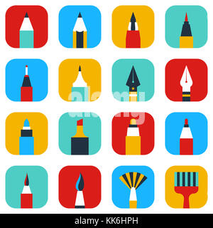 Colorful artist items. Drawing and writing vector icon - Stock Photo