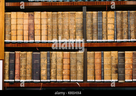 Helsinki, Finland. Aged Ancient Antique Old Vintage Books On A Shelfs In National Library. - Stock Photo