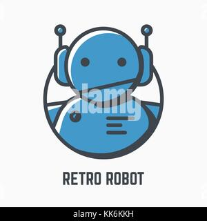Retro robot logo - Stock Photo