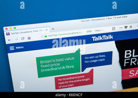 LONDON, UK - NOVEMBER 22ND 2017: The homepage of the official website for TalkTalk - the company providing pay television, - Stock Photo