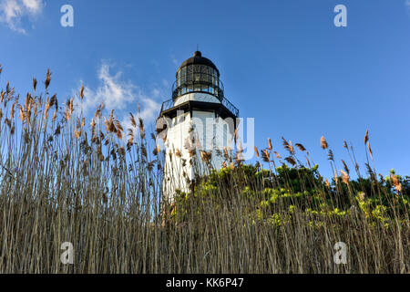 The Montauk Point Lighthouse located adjacent to Montauk Point State Park, at the easternmost point of Long Island, - Stock Photo